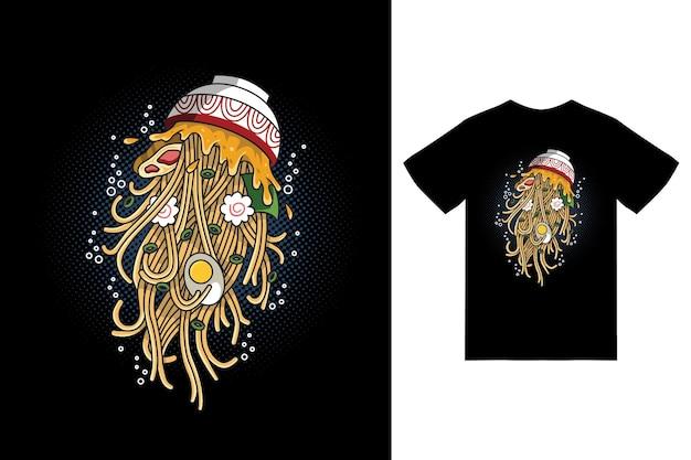 Ilustracja meduzy ramen z projektem koszulki wektor premium