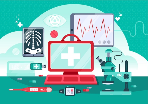 Ilustracja medycyny cyfrowej z monitorem biurkowym lekarza i profesjonalnym sprzętem