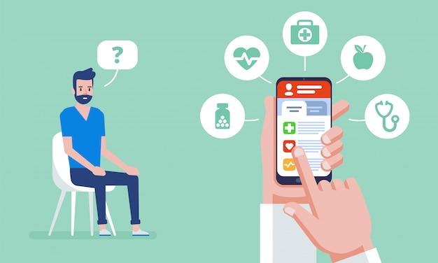 Ilustracja medycyny online. doktorski online pojęcie z ikonami ustawiać. wizyta u lekarza.
