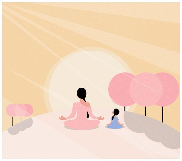 Ilustracja medytacji na wiosnę. matka i córka robi joga w pozycji lotosu. kwitnące kwiaty i słońce. międzynarodowy dzień jogi