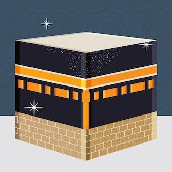 Ilustracja mekki kaaba i świecące gwiazdy