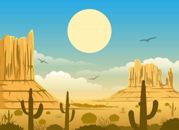 Ilustracja meksykański zachód słońca na pustyni