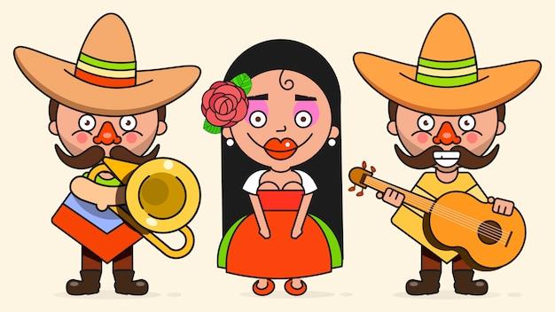 Ilustracja meksykańskich muzyków z dwoma mężczyznami i kobietą z gitarami w rodzimych ubrań i sombrero flat