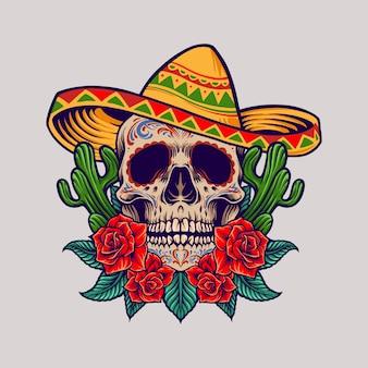 Ilustracja meksykańskiej czaszki cinco de mayo