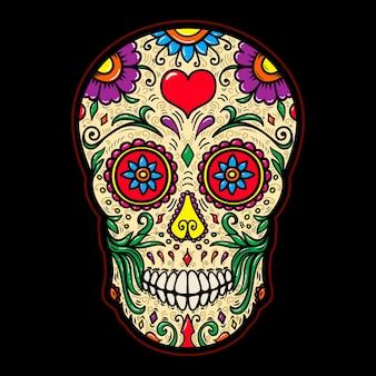 Ilustracja meksykańskiej czaszki cukru