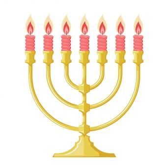 Ilustracja menorah z czerwonymi świeczkami. kreskówka obraz żydowskiej menory. styl kreskówki. przedmiot religii żydowskiej