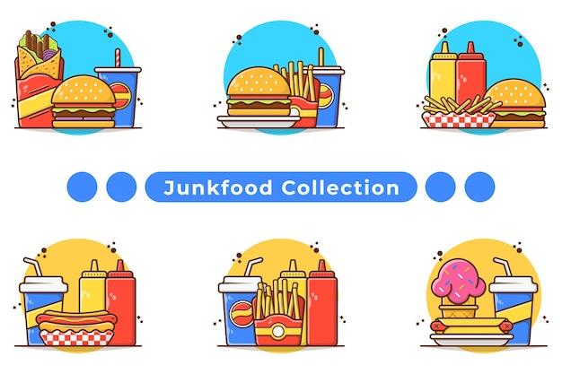 Ilustracja menu posiłek fast food w wyciągnąć rękę