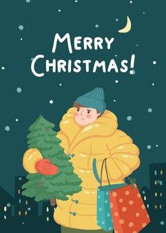 Ilustracja merry christmas man z choinką i prezentami
