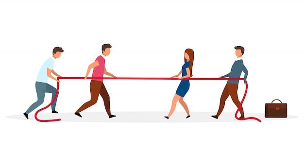 Ilustracja metafory systemu politycznego. przeciąganie liny różne opinie ludzi. konflikt interesów. konfrontacja między stronami. postaci z kreskówek sporne, niezgodne