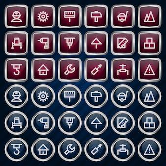 Ilustracja metalowe ikony zestaw naprawa konstrukcji, format eps 10