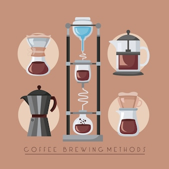 Ilustracja metod parzenia kawy z zestawem naczyń kuchennych