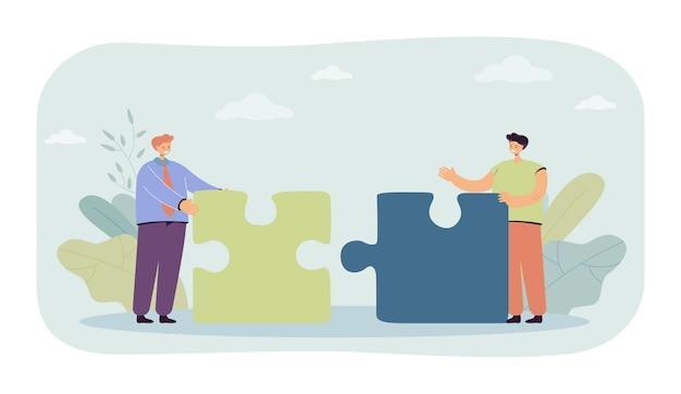 Ilustracja mężczyzn łączących pomysły