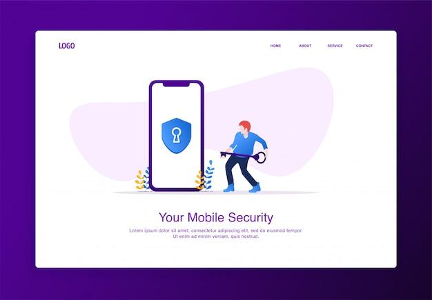Ilustracja mężczyzn nosi klucz do odblokowania zabezpieczeń mobilnych. koncepcja nowoczesny projekt płaski, szablon strony docelowej.