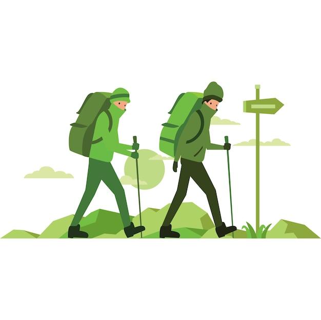 Ilustracja mężczyzn pieszych na szczycie góry