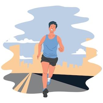 Ilustracja mężczyzna bieganie lub jogging