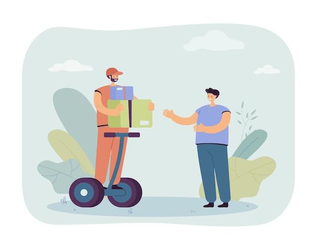 Ilustracja mężczyzna dostarczający towary