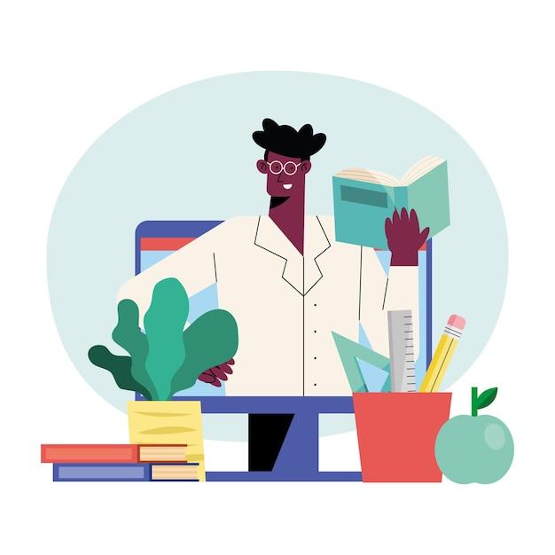Ilustracja mężczyzna nauczyciel online