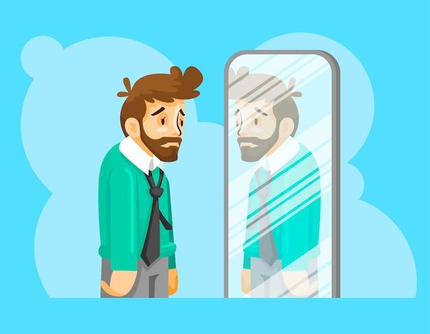 Ilustracja mężczyzna niskie poczucie własnej wartości