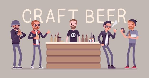 Ilustracja mężczyzna odwiedzający sklep z piwem rzemieślniczym