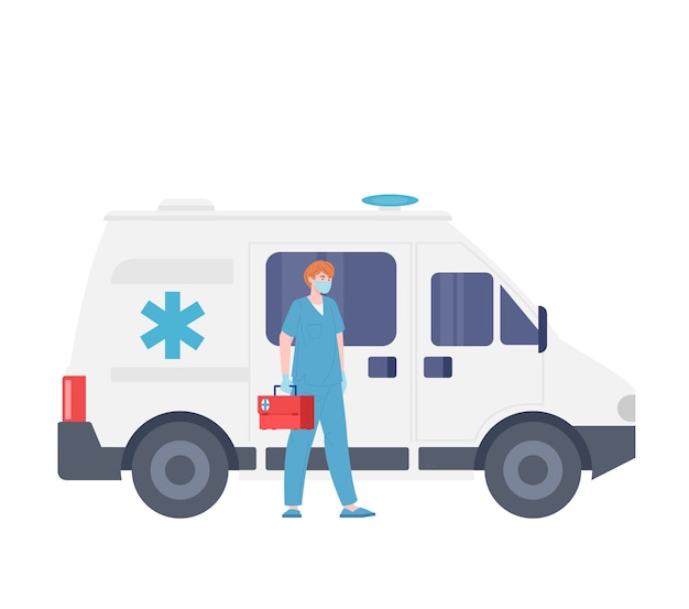 Ilustracja mężczyzna pogotowie ratunkowe