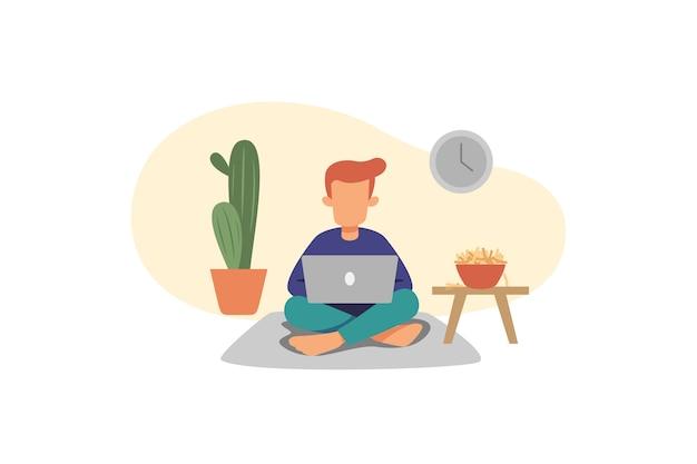 Ilustracja mężczyzna pracujący w domu
