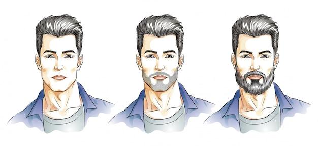Ilustracja mężczyzna twarz w stylu przypominającym akwarele