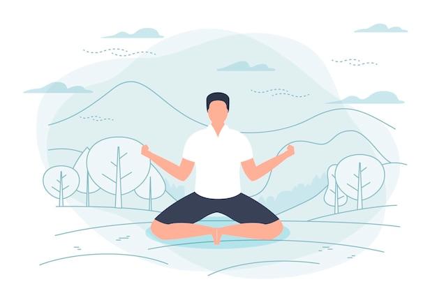 Ilustracja mężczyzna w pozycji lotosu jogi