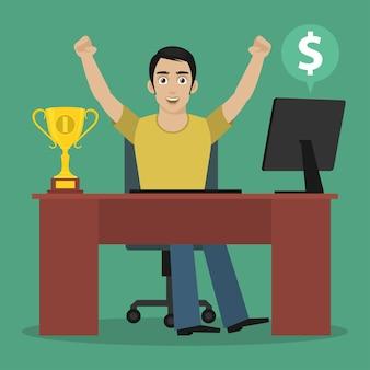 Ilustracja mężczyzna zwycięzca siedzi przy stole, format eps 10