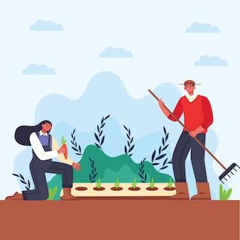Ilustracja mężczyzny i kobiety koncepcji rolnictwa ekologicznego