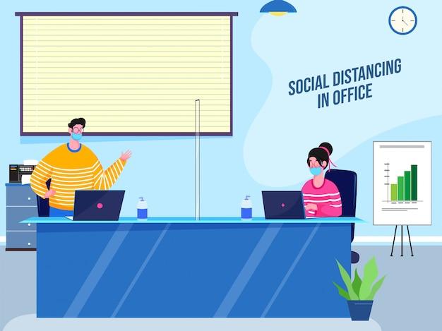 Ilustracja mężczyzny i kobiety noszących maski na twarz, utrzymując dystans społeczny w miejscu pracy w biurze, aby zapobiec wirusowi corona.
