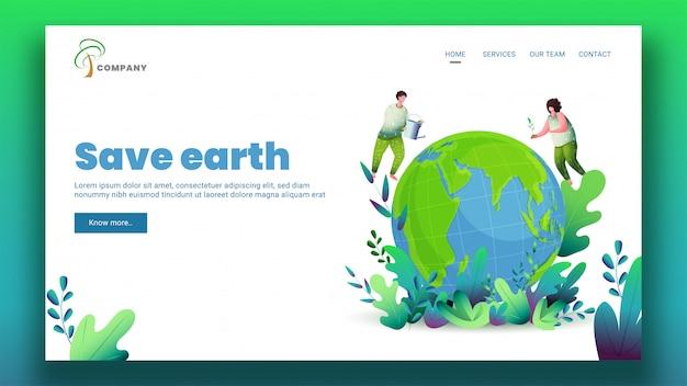 Ilustracja mężczyzny i kobiety ogrodnictwa na kuli ziemskiej dla strony docelowej save earth.