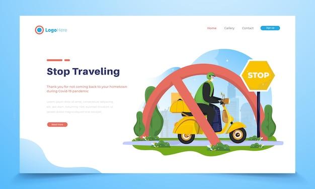 Ilustracja mężczyzny jeżdżącego na skuterze z ostrzeżeniem, aby przestać podróżować lub mudik do miasta rodzinnego