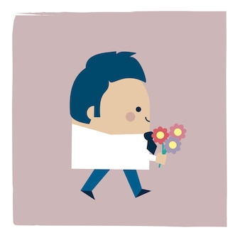 Ilustracja mężczyzny trzymającego bukiet