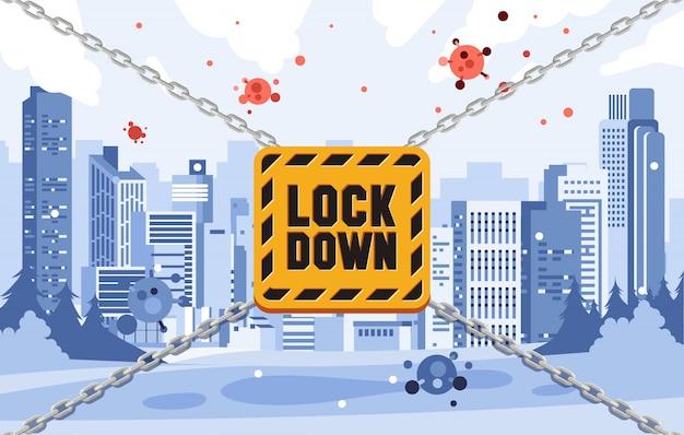 Ilustracja miasta blokady, aby zapobiec zaraźliwym wirusom rozprzestrzeniania płaskiej ilustracji