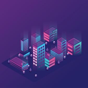 Ilustracja miasta izometryczny światła