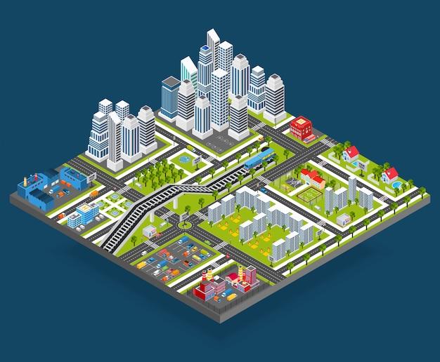 Ilustracja miasta izometryczny