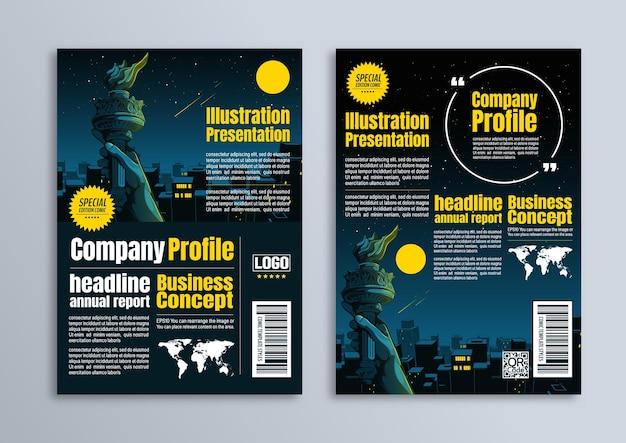 Ilustracja miasta nocą i ręka statuy wolności, projekt plakatu ulotki, szablon biznesowy w formacie a4, do prezentacji, zdjęcia na okładkę profilu firmy.