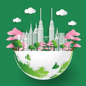Ilustracja miasta przyjazne dla środowiska