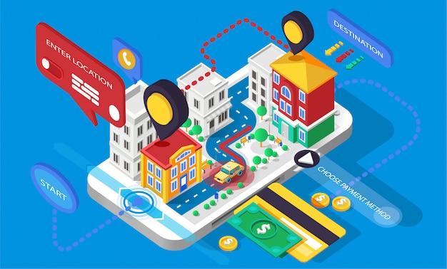 Ilustracja miasto infografiki izometria 3d aplikacja do rozmowy telefonicznej. żółta taksówka taksówka taksówka hackney przewóz online biznes finanse inteligentny telefon karta kredytowa zapłacić