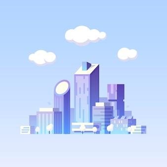 Ilustracja. miasto przyszłości. nowoczesne budowle. zielone miasto