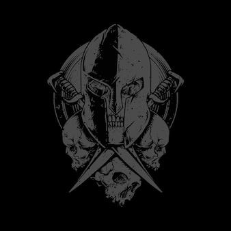 Ilustracja miecz horroru wojownik czaszki