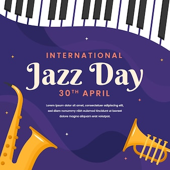 Ilustracja międzynarodowego dnia jazzu z instrumentami muzycznymi
