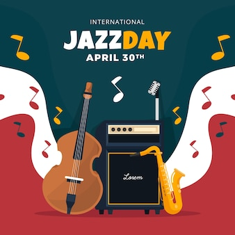 Ilustracja międzynarodowego dnia jazzu z instrumentami