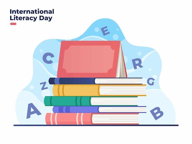 Ilustracja międzynarodowego dnia piśmiennictwa 8 września ze stosem książek ilustracja kreskówka