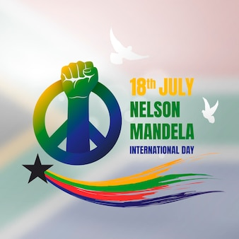 Ilustracja międzynarodowy dzień gradientu nelsona mandeli