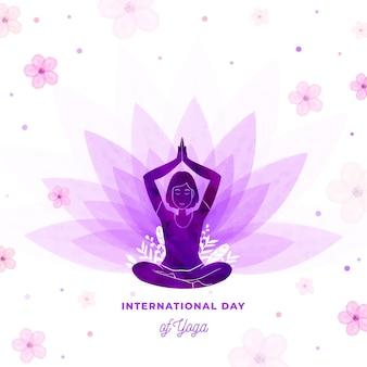 Ilustracja międzynarodowy dzień jogi w akwareli
