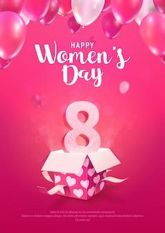 Ilustracja międzynarodowy dzień kobiet. plakat na powitanie 8 marca