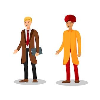 Ilustracja międzynarodowych biznesmenów płaski kolor