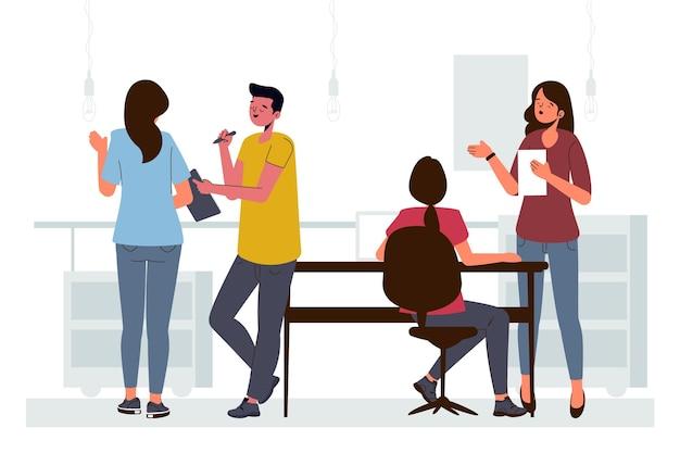 Ilustracja miejsca coworkingowego płaskiego
