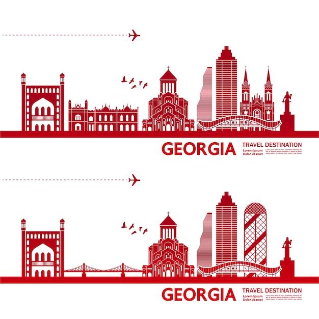 Ilustracja miejsca podróży w gruzji.
